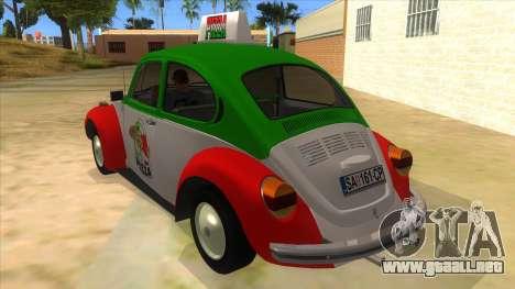 Volkswagen Beetle Pizza para GTA San Andreas vista posterior izquierda