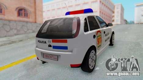 Opel Corsa C Policia para GTA San Andreas vista posterior izquierda