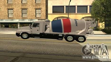 Kenworth T600 Camión De Cemento para GTA San Andreas vista posterior izquierda