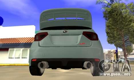Subaru Impreza WRX STI 2008 LPcars v.1.0 para la visión correcta GTA San Andreas