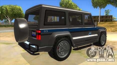 Benefactor Dubsta Jurassic World Security para la visión correcta GTA San Andreas