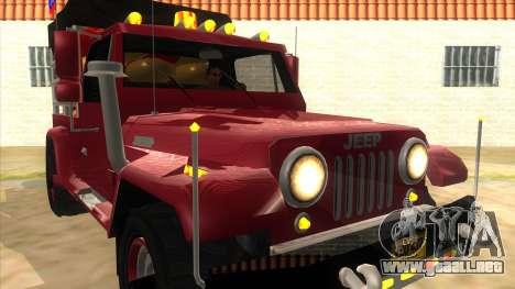 Jeep Pick Up Stylo Colombia para GTA San Andreas vista hacia atrás