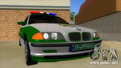 BMW Iranian Police para GTA San Andreas vista hacia atrás