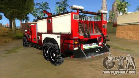 HUMMER H2 Firetruck para GTA San Andreas vista posterior izquierda