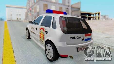Opel Corsa C Policia para GTA San Andreas left