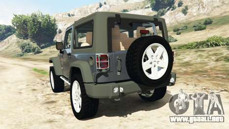 GTA 5 Jeep Wrangler 2012 v1.1 vista lateral izquierda trasera