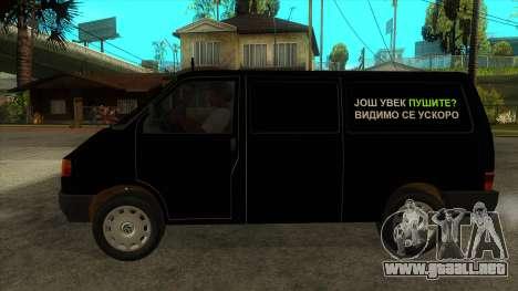 VW T4 Mrtvačka ruedas para GTA San Andreas left