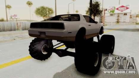 Pontiac Firebird Trans Am Monster Truck 1982 para la visión correcta GTA San Andreas