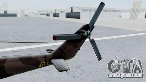 Mi-24V Soviet Air Force 0835 para GTA San Andreas vista posterior izquierda