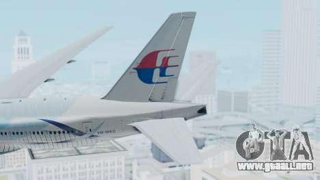 Boeing 777-2H6ER Malaysia Airlines para GTA San Andreas vista posterior izquierda