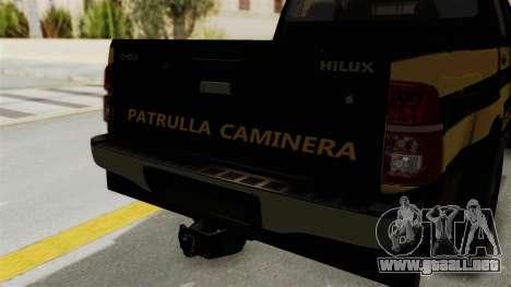 Toyota Hilux 2015 Patrulla Caminera Paraguaya para GTA San Andreas vista hacia atrás