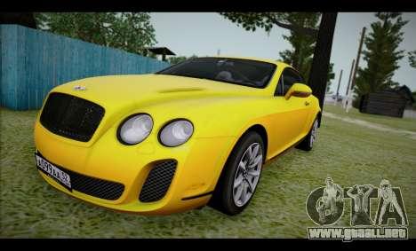 Bentley Continental para GTA San Andreas vista posterior izquierda