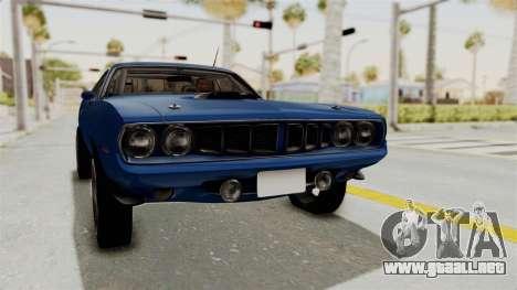 Plymouth Hemi Cuda 1971 Drag para la visión correcta GTA San Andreas