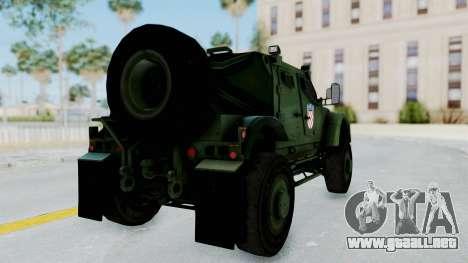 Croatian Oshkosh M-ATV Woodland para GTA San Andreas vista posterior izquierda