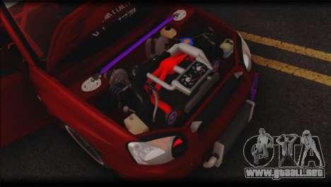 Subaru Impreza STi Drag Racing Unlim 500 para visión interna GTA San Andreas