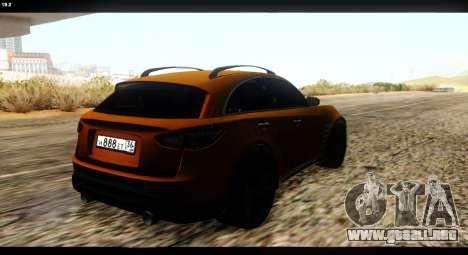 Infiniti FX37 para GTA San Andreas vista hacia atrás