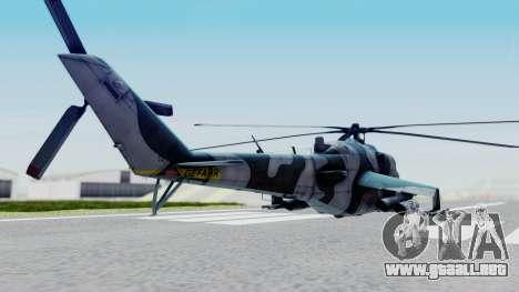 Mi-24V GDR Air Force 45 para GTA San Andreas vista posterior izquierda