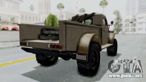 GTA 5 Bravado Duneloader Cleaner Worn para GTA San Andreas vista posterior izquierda