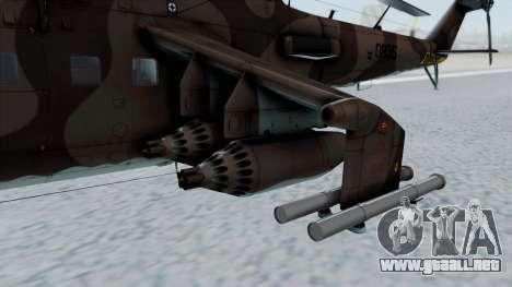 Mi-24V Soviet Air Force 0835 para la visión correcta GTA San Andreas