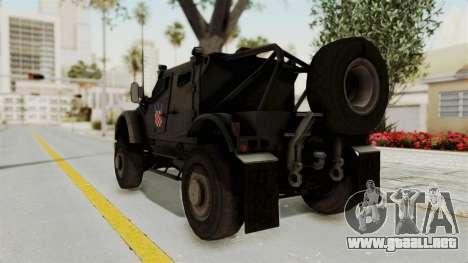 Croatian Oshkosh M-ATV Desert para GTA San Andreas vista posterior izquierda