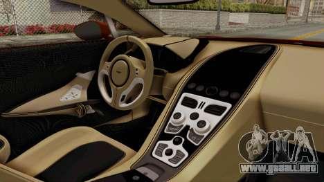 Aston Martin One-77 2010 Autovista Interior para la visión correcta GTA San Andreas