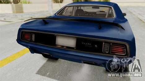 Plymouth Hemi Cuda 1971 Drag para visión interna GTA San Andreas