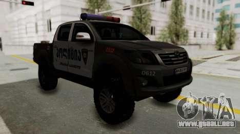 Toyota Hilux 4WD 2015 Georgia Police para la visión correcta GTA San Andreas