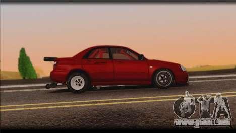 Subaru Impreza STi Drag Racing Unlim 500 para GTA San Andreas vista hacia atrás