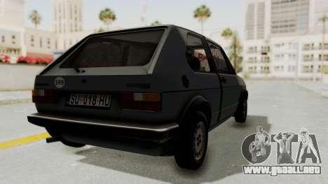 Volkswagen Golf Mk1 GTI para GTA San Andreas vista posterior izquierda