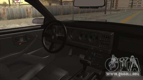 Pontiac Firebird Trans Am Monster Truck 1982 para visión interna GTA San Andreas