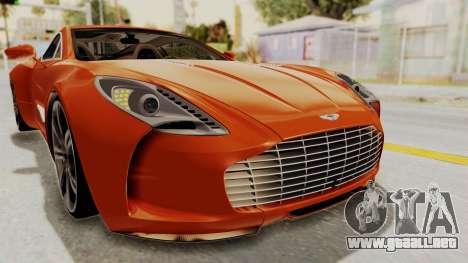 Aston Martin One-77 2010 Autovista Interior para la vista superior GTA San Andreas