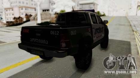 Toyota Hilux 4WD 2015 Georgia Police para GTA San Andreas vista posterior izquierda