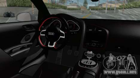 Audi R8 V10 2010 para visión interna GTA San Andreas