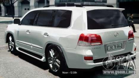 Lexus Lx 570 2014 sport para GTA 4 left