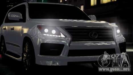 Lexus Lx 570 2014 sport para GTA 4 vista hacia atrás