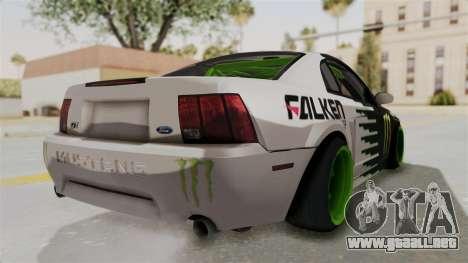 Ford Mustang 1999 Drift Monster Energy Falken para GTA San Andreas vista posterior izquierda