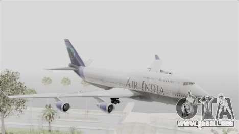 Boeing 747-400 Air India para GTA San Andreas vista posterior izquierda