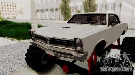Pontiac GTO Tempest Lemans 1965 Monster Truck para GTA San Andreas vista hacia atrás