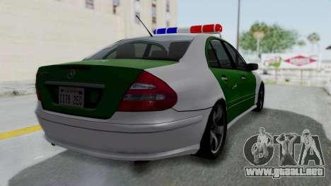 Mercedes-Benz E500 Police para GTA San Andreas left
