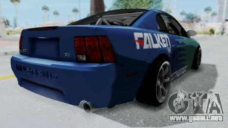 Ford Mustang 1999 Drift Falken para GTA San Andreas vista posterior izquierda