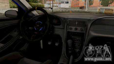 Ford Mustang 1999 Drag para GTA San Andreas vista hacia atrás
