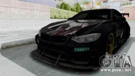 BMW M4 Kurumi Itasha para GTA San Andreas vista posterior izquierda