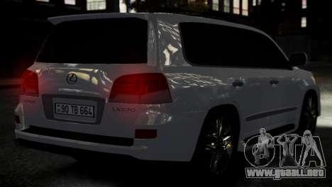 Lexus Lx 570 2014 sport para GTA 4 Vista posterior izquierda