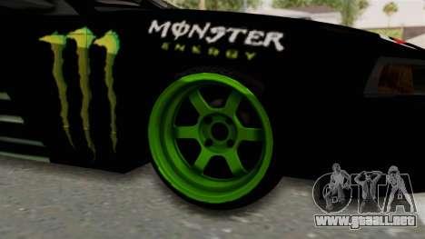 Ford Mustang 1999 Drift Monster Energy Falken para GTA San Andreas vista hacia atrás