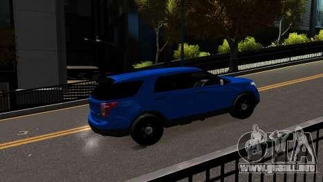 Ford Explorer 2013 para GTA 4 vista hacia atrás