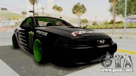 Ford Mustang 1999 Drift Monster Energy Falken para la visión correcta GTA San Andreas
