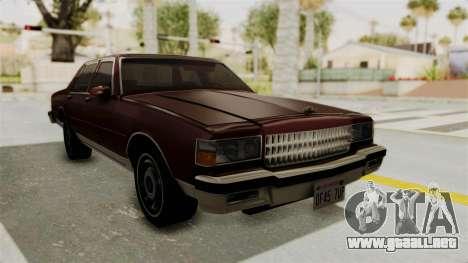 Chevrolet Caprice 1987 v1.0 para la visión correcta GTA San Andreas