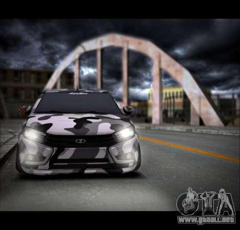 Lada Vesta Camouflage para GTA San Andreas vista posterior izquierda