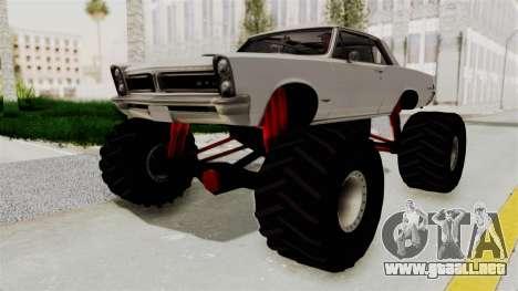 Pontiac GTO Tempest Lemans 1965 Monster Truck para la visión correcta GTA San Andreas