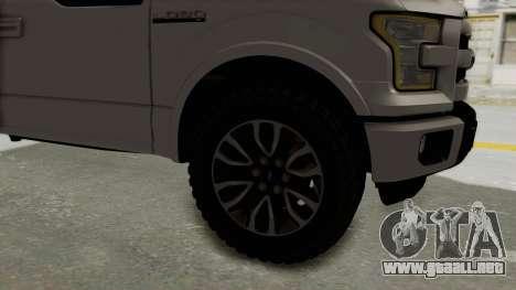 Ford Lobo XLT 2015 Single Cab para GTA San Andreas vista hacia atrás